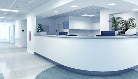 Reception desk lighting for hospital